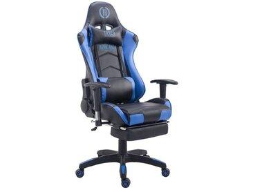 Fauteuil de bureau ergonomique dossier réglable avec repose-pieds simili-cuir noir/bleu