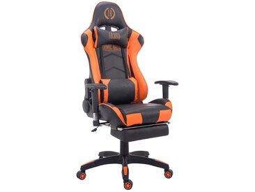 Fauteuil de bureau ergonomique dossier réglable avec repose-pieds simili-cuir noir/orange