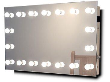 Miroir Maquillage Diamond X Mural Hollywood Audio Bath LED Blanc Chaud k413WWaud - Couleur LED : Ampoules LED blanches chaudes