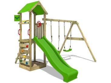 FATMOOSE Aire de jeux Portique bois KiwiKey avec balançoire et toboggan vert pomme Maison enfant exterieur avec bac à sable, échelle d'escalade & accessoires de jeux