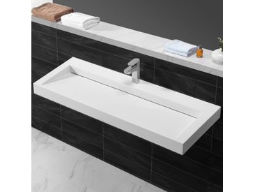 Lavabo suspendu rectangulaire - Solid surface Blanc mat - 120x45 cm - Urban
