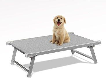 Lit pour chien aluminium niche animaux transat DOGGY | Gris