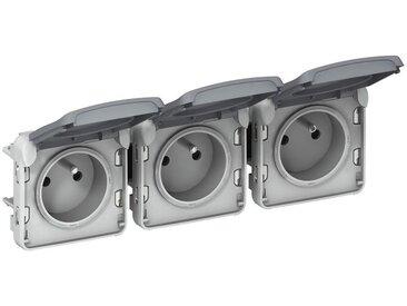Triple prise de courant 2P+T précâblées à l'horizontale composable IP55 16AX 250V - Plexo - Gris - 069564 - Legrand