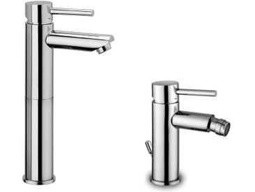 Paffoni STICK – Composition de deux pièces: Mitigeur haut pour lavabo, et mitigeur bidet avec vidage (code SK071HCR120+SK135HCR)
