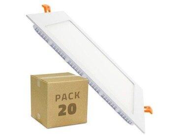 Spot Encastrable PACK Dalle LED Carrée Extra Plate 18W (20 Un) Downlight Panel Blanc Chaud 3000K