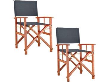 2x Chaises de jardin pliable anthracite Cannes accoudoirs bois certifée FSC® pré-huilé intérieur extérieur