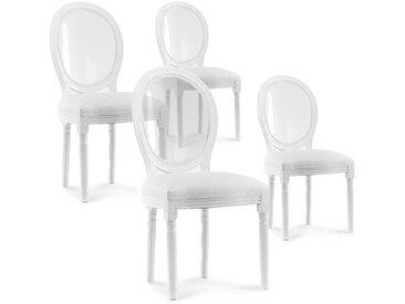 Lot de 4 chaises médaillon avec dossier transparent Louis XVI simili Blanc