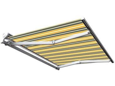 Store banne manuel Demi coffre pour terrasse - Gris jaune - 3 x 2,5 m