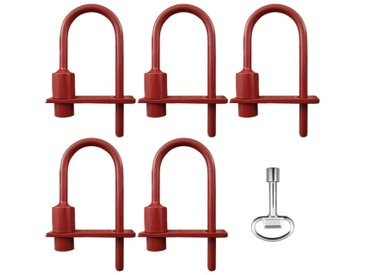 Lot de 5 cadenas pompier polyvalent (9mm/11mm) + clé (9mm) - serrure triangle accès pompiers & EDF en acier résistant