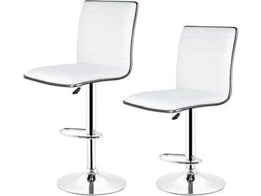 Lot de 2 Tabouret de bar blanc en Simili réglable en hauteur et rotatif - Hauteur siège (95-115cm)