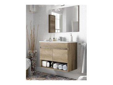 Meuble de salle de bain suspendu 80 cm couleur Nordik avec miroir   Nordik - Avec colonne et lampe LED