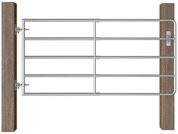 Portillon à 5 barres Acier (95-170)x90 cm Argenté
