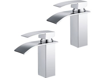 2x Robinets Salle de Bain Cascade Mitigeur de Lavabo en Laiton Robinet à Deux Voies Chromé Design Moderne