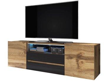 Selsey BROS - Meuble tv / Banc tv (chêne wotan / noir brillant, 137 cm, avec LED)