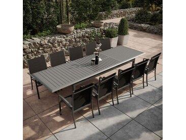 Table de jardin extensible aluminium 220/320cm + 10 Fauteuils empilables textilène Gris Anthracite - ANDRA XL