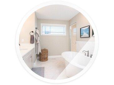 Miroir de Maquillage Miroir Rond Mural + Éclairage LED et Interrupteur Tactile 70*70*4.5cm