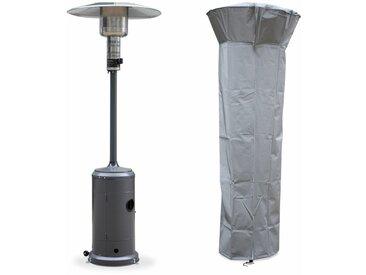 Chauffage d'extérieur gaz 12,5kW - Finland gris - Parasol chauffant, réglable, roulettes et housse