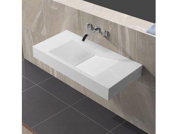 Lavabo Suspendu Rectangulaire - Solid surface Blanc Mat - 100x48 cm - Graphic