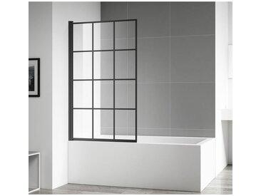 Badplaats - Pare baignoire Riad 80x140cm nano revêtement verre transparent profilé noir - Noir