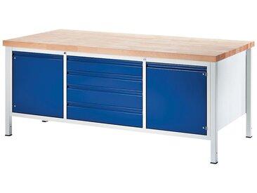 RAU Etabli, stable - 4 tiroirs taille XL, 2 portes - profondeur 900 mm, largeur 2000 mm