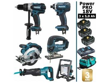 Pack Power PRO 6 outils 18V: Perceuse DDF458 + Visseuse à chocs DTD152 + Scie circulaire DSS610 + Scie sauteuse DJV180 + Scie récipro DJR186 + Lampe Torche LED + 3 batt 5Ah + sac MAKITA