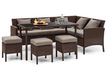 blumfeldt Titania Dining Lounge Salon de jardin table tabouret - marron