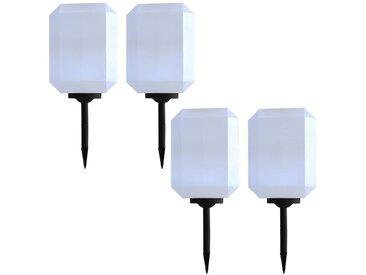 Lampes solaires à LED d'extérieur 4 pcs 30 cm Blanc