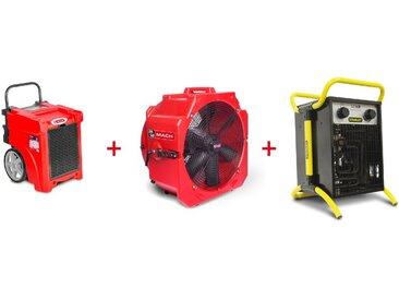 Pack Déshumidificateur mobile industriel 50 l/jour PE + Ventilateur mobile 2 vitesses 500 mm + Générateur d'air chaud électrique 3,3 kW MW-Tools BDE50SETAH