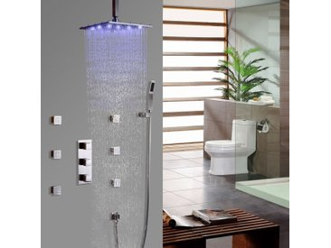 Système thermostatique de douche à l'italienne encastré au plafond en nickel brossé Valve de douche standard Barre de douche Sans LED 200 mm