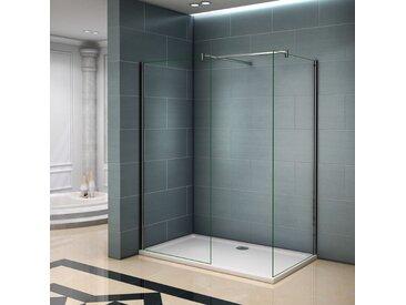 Paroi de douche 140x200cm verre anticalcaire avec 2 barres de fixation 140cm cabine de douche 140x120x200cm