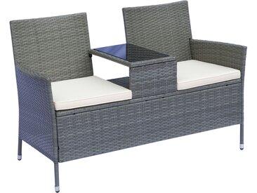 Banc de jardin design contemporain 133L x 63l x 84H cm banc double chaise avec coussins assise + tablette intégrée résine tressée grise polyester crème