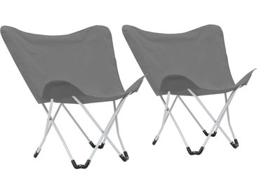 Hommoo Chaise de camping pliable Forme de papillon 2 pcs Gris