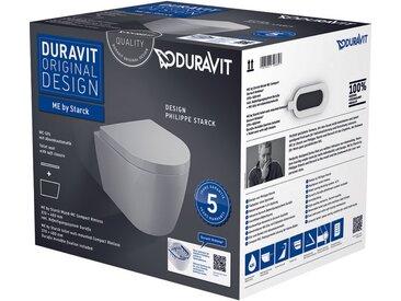 Pack WC suspendu compact Duravit ME by Starck 453009 - cuvette Rimless + abattant frein de chute, système Durafix inclus