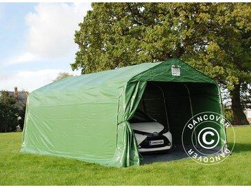 Tente Abri Voiture Garage PRO 3,6x6x2,68m PVC, avec couverture de sol, Vert/Gris