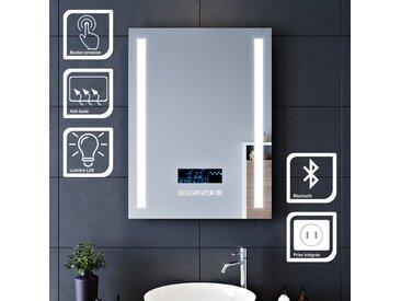 SIRHONA 60x80cm Miroir lumineux pour salle de bains à LED avec éclairage tactile Miroirs de maquillage et de rasage avec anti-buée | Fonction d'horloge | Audio Bluetooth | Prise rasoir