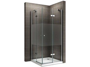 MAYA Cabine de douche H 180 cm en verre semi-opaque 85x120 cm