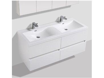 Meuble salle de bain design double vasque SIENA largeur 144 cm, blanc laqué