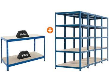 Mega Deal | 4x étagères métalliques pour charges lourdes - Profondeur 60 cm et 1x établi