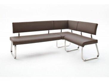 Banc d'angle réversible design métal chromé et PU Doris Marron - Blanc, noir, gris, marron clair ou marron