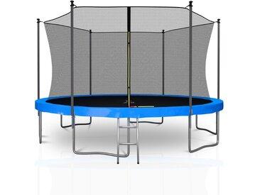 Trampoline extérieur Classique 13Ft / ø400cm KAIA SPORTS Pack trampoline de jardin avec Filet intérieur, mousse de protection, échelle et tapis de saut - Bleu