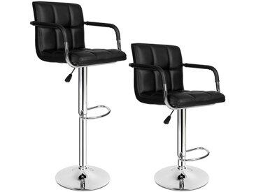 Lot de 2 Chaises de Bar avec Accoudoirs Pivotantes et réglables en Hauteur 62,5 cm - 82,5 cm Noir