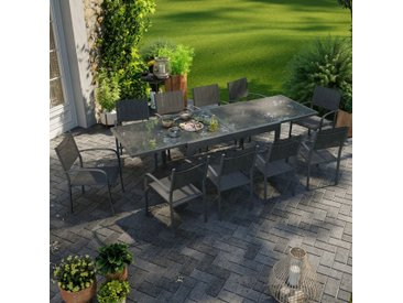 Table de jardin extensible aluminium 270cm + 10 fauteuils empilables textilène anthracite - LIO 10 - Noir