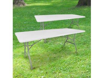 Lot de 2 Tables Pliantes de Camping 180 cm Rectangulaire Blanche - Table de Jardin 8 personnes L180 x l74 x H74cm en HDPE Haute Densité Épaisseur 3,5 cm - Pieds en Acier Pelliculé Gris