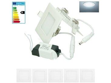 ECD Germany 5 x Ultraslim mince panneau de LED à encastrer 3W 8,5 x 8,5 cm SMD 2835 6000K Blanc Froid 220 - 240 V environ 131 lumens plafonnier encastré angulaire