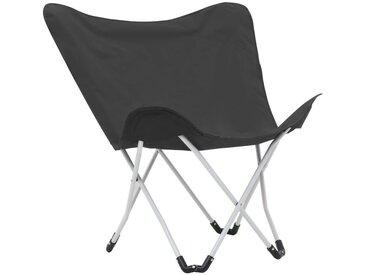 Hommoo Chaise de camping pliable Forme de papillon 2 pcs Noir