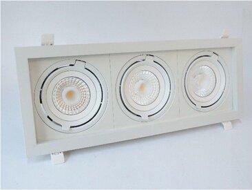 Encastré LED 3X23W rectangulaire 523X200mm blanc 3 spots orientables 4000K 3X2100lm 230V dimmable 38° IP20 IK07 CARD THREE SHOP