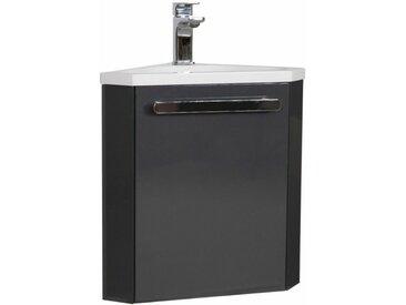 Meuble lave-mains d'angle Gris Anthracite SKINO - Gris Foncé