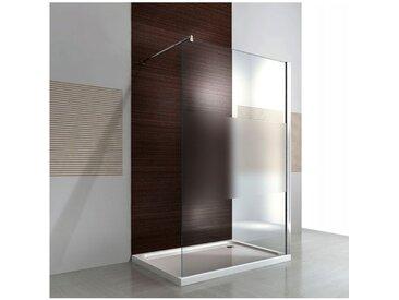 Paroi de douche fixe latérale en verre de sécurité 8mm, satiné partiel, EX101, largeur sélectionnable: 1200mm