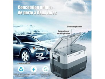 COSTWAY Glacière-Congélateur Electrique Portable 55L DC : 12-24V, AC : 230V pour Voiture Mini Réfrigérateur pour Camping A+