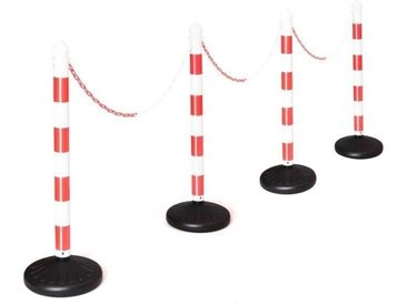 COSTWAY Ensemble de 4 Poteaux de Barrière Chandeliers en Plastique avec Chaîne à Maillons de 100 cm et Crochet en C